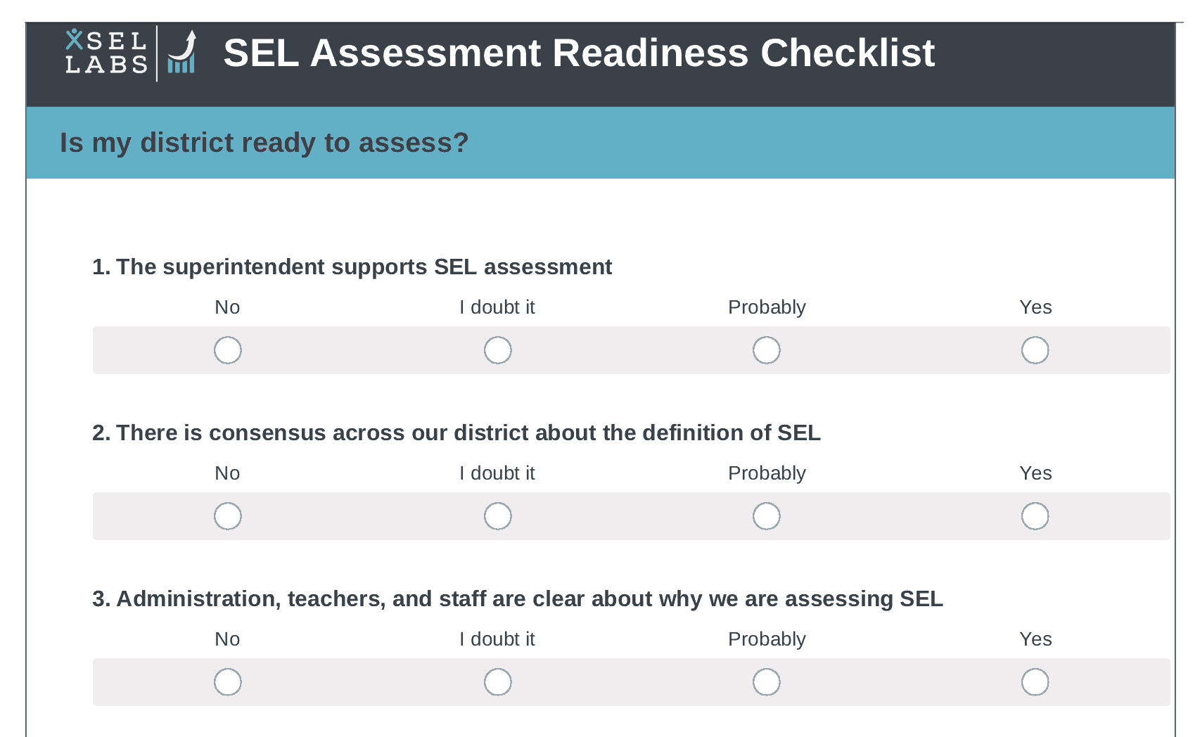 What Makes Sel Work >> Social Emotional Learning Sel Assessment Readiness Checklist